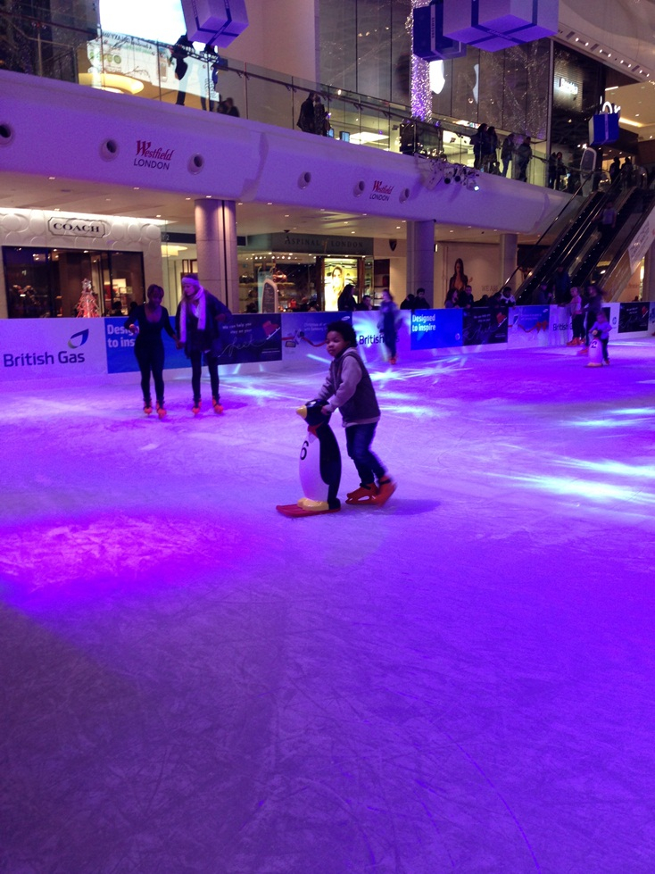 Ezra ice skating at Westfield London
