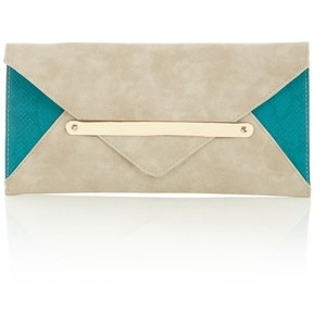 New Look Stone and Teal metal tab clutch