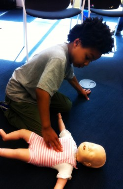 St John Ambulance training baby CPR