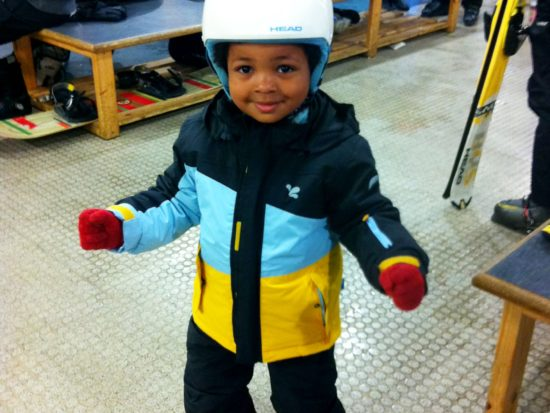 Jed in Muddy Puddles Ski Gear
