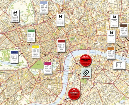 Honkopoly London blogger's relay route map