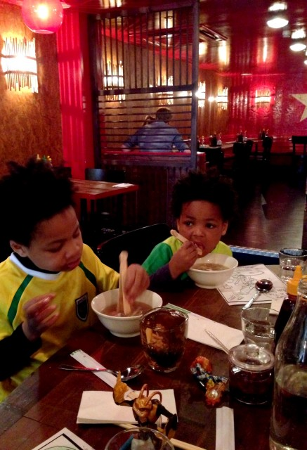 Kids eating at Pho