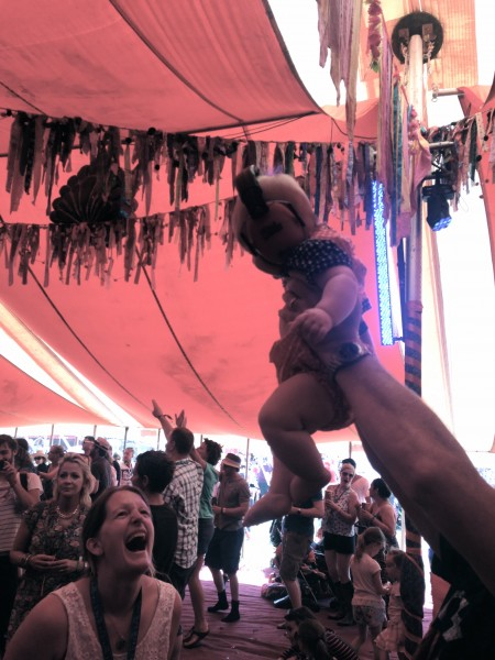 Camp Bestival Bollywood tent baby