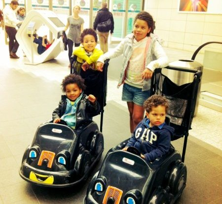 Jed and Rufus in Kiddy Cars at Westfield