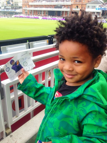 Jed with autograph at Lords