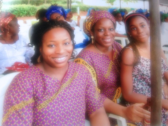 Mum homecoming Uju and sisters
