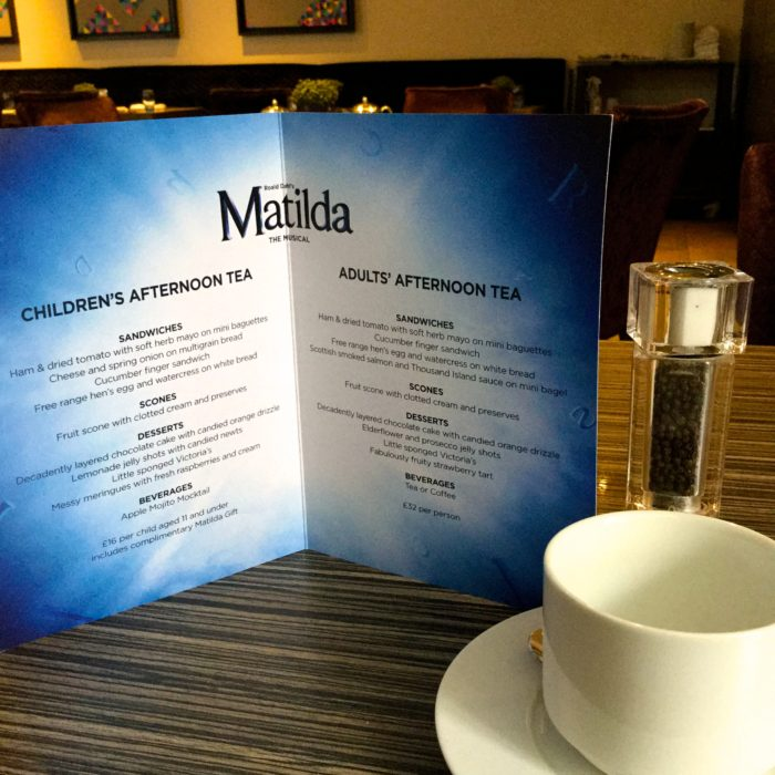 Matilda the Musical afternoon tea menu