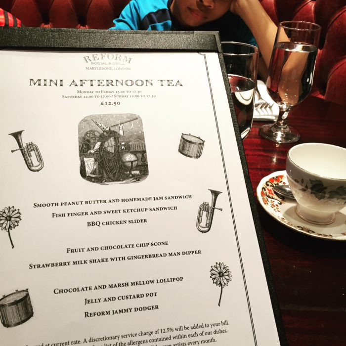 Reform Social & Grill Mini Afternoon Tea Menu