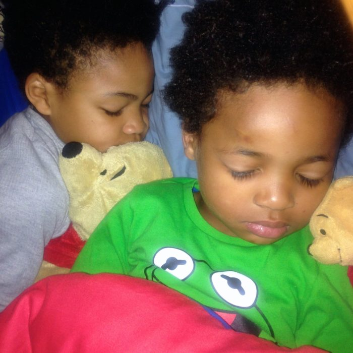 Ezra and Jed asleep with Poohs copyright Babes about Town