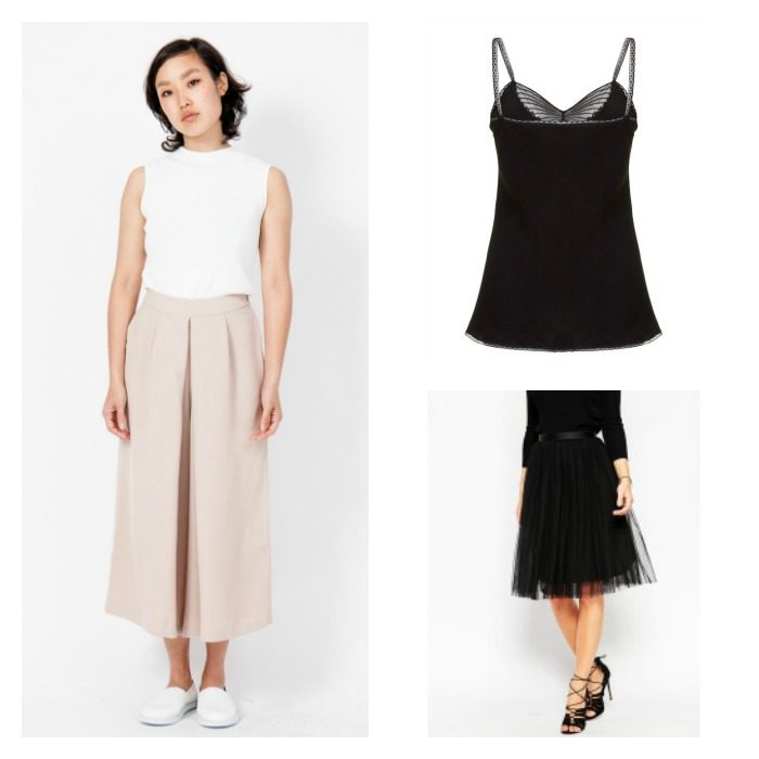 Lyst Capsule Wardrobe Collage Culottes Cami Skirt