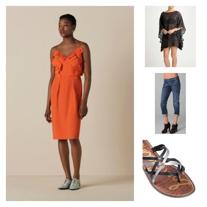 Lyst Capsule Wardrobe orange dress collage