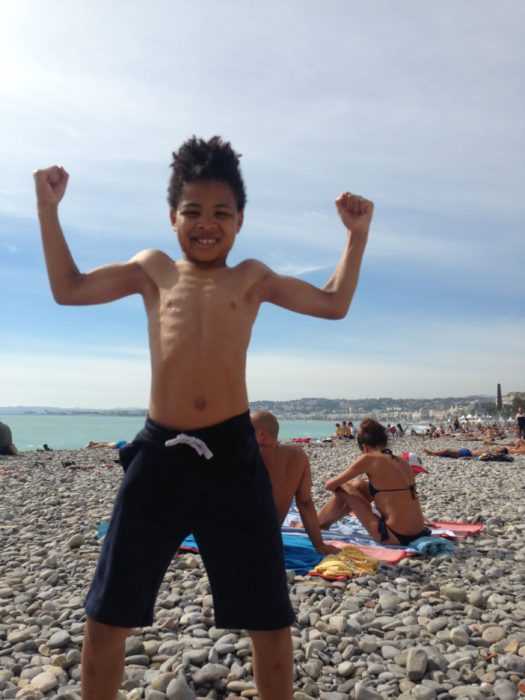 Ezra on beach in Nice