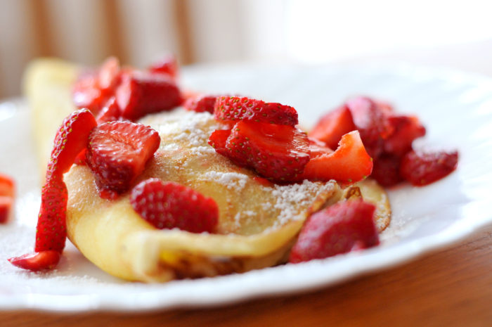 Pancake with strawberries