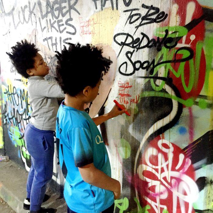 London Kids Mini Cooper Tour Leake St tunnel graffiti