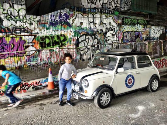 London Kids Mini Cooper Tour Leake St tunnel graffiti shot