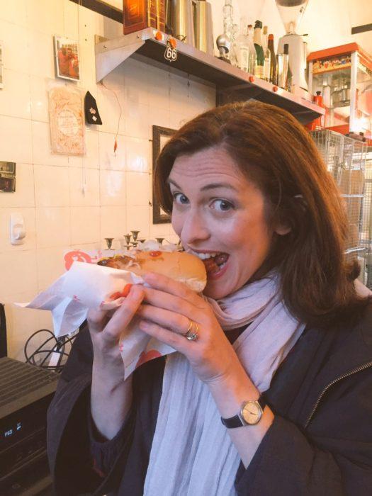 Dry Drinker Night Natasha eats Big Apple Hot Dogs