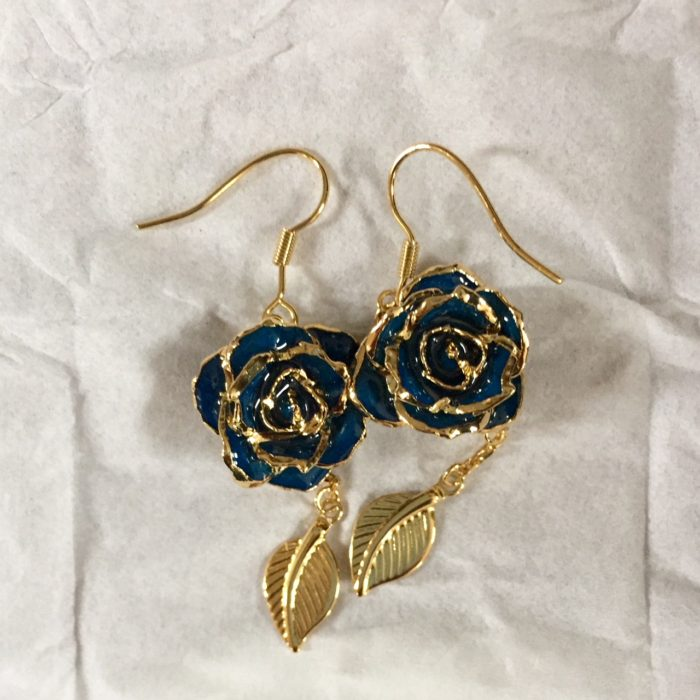 Eternity Rose blue rose earrings