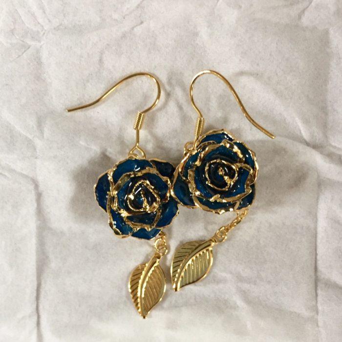 Eternity Rose blue rose earrings