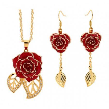 Eternity Rose red glazed earrings and pendant