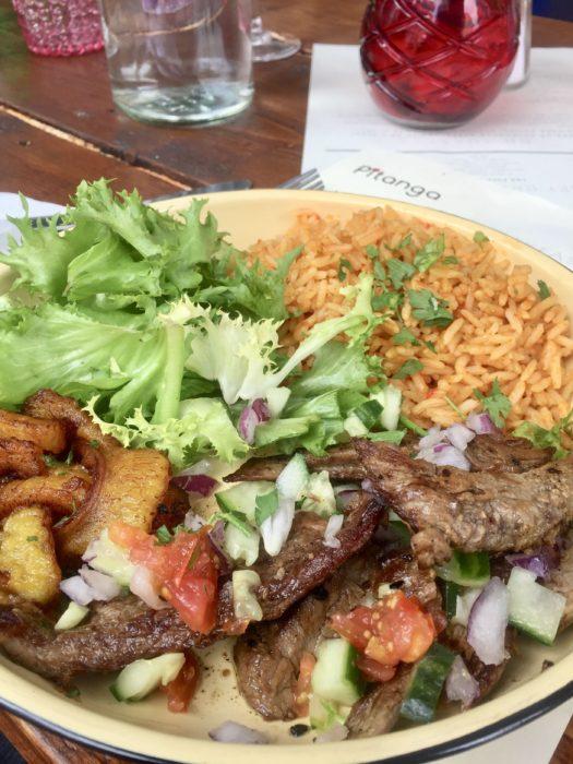 Pitanga beef suya with jollof rice
