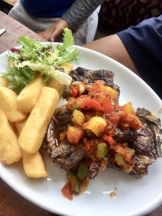 Pitanga lamb chop with yam chips