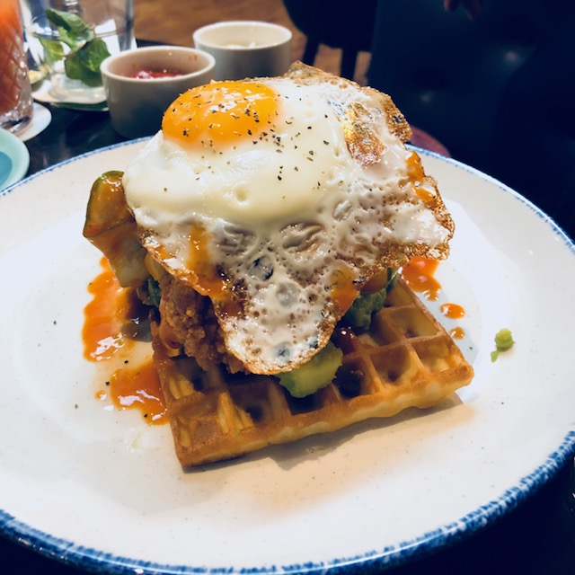 Little Bat fried egg chicken and waffles