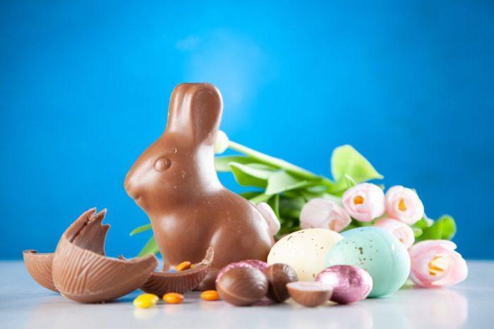 Easter egg and chocolate bunny