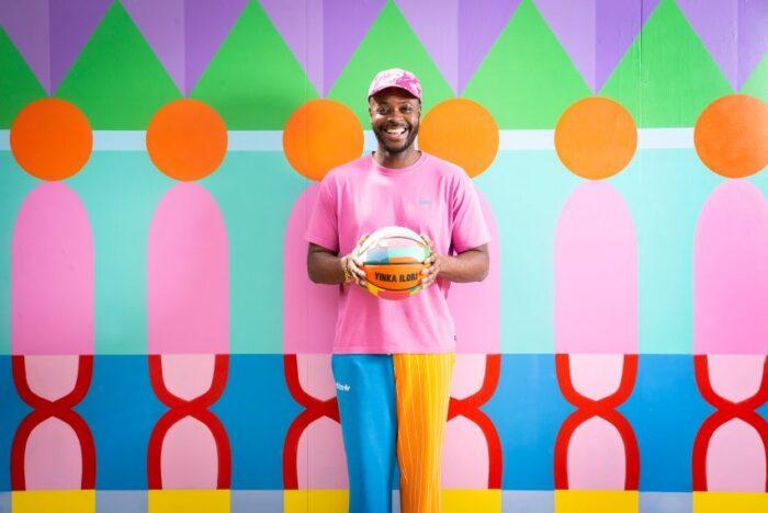 Yinka Ilori basketball court at Canary Wharf